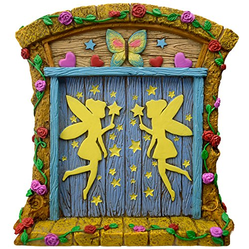 Twig & Flower The Miniature Magical Fairy Garden Gnome Home Door (with Hand Painted Flowers, Vines, Stars, Hearts, Care and Cuteness)
