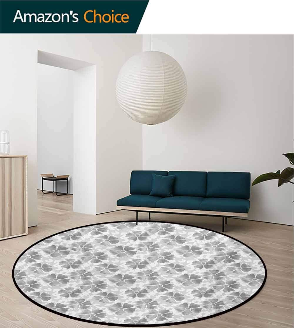 Floral Modern Machine Washable Round Bath Mat,Digital Style Flower Petals with Striped Lines with Butterfly Figures Illustration Non-Slip Living Room Soft Floor Mat,Diameter-71 Inch