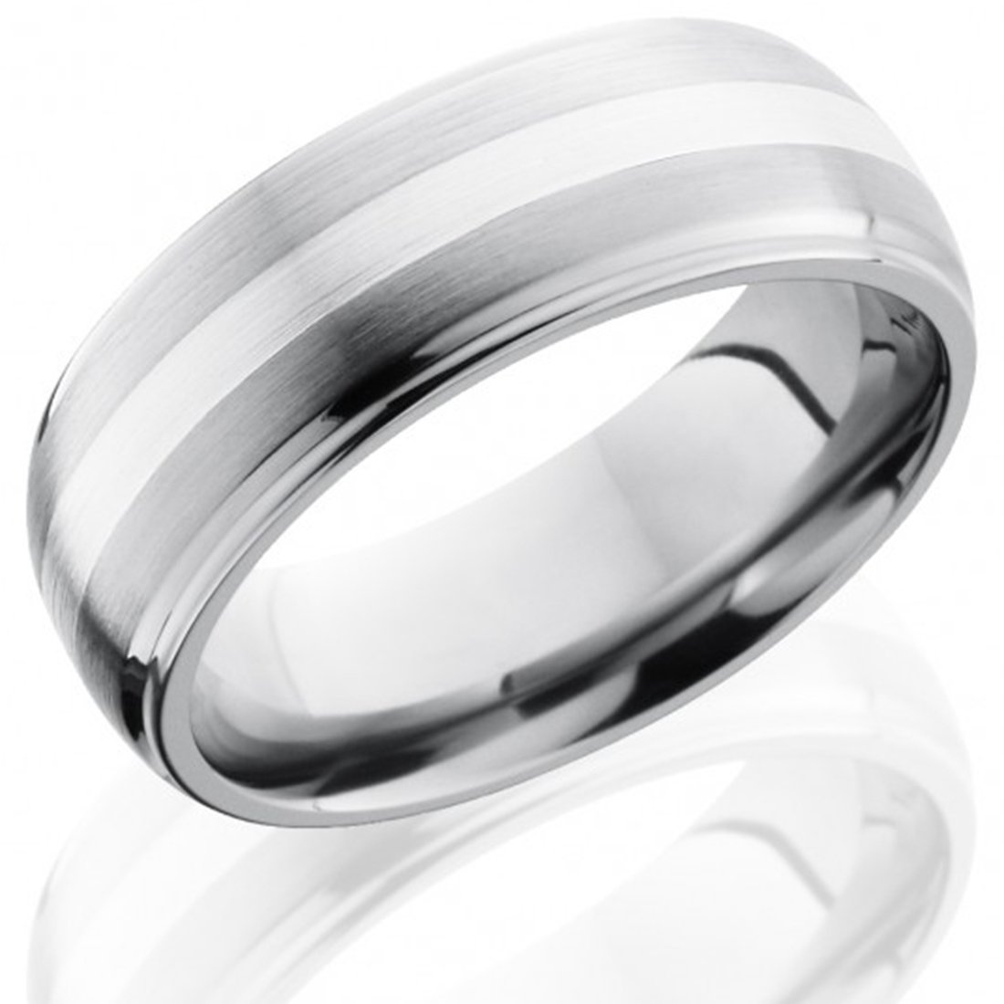 Best Quality Free Gift Box Titanium Grooved Sterling Silver Inlay 8mm Brushed Band