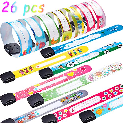 26 Pieces ID Wristbands Child Safety Identification Bracelets Adjustable Waterproof ID Band for Boys and Girls Wearing
