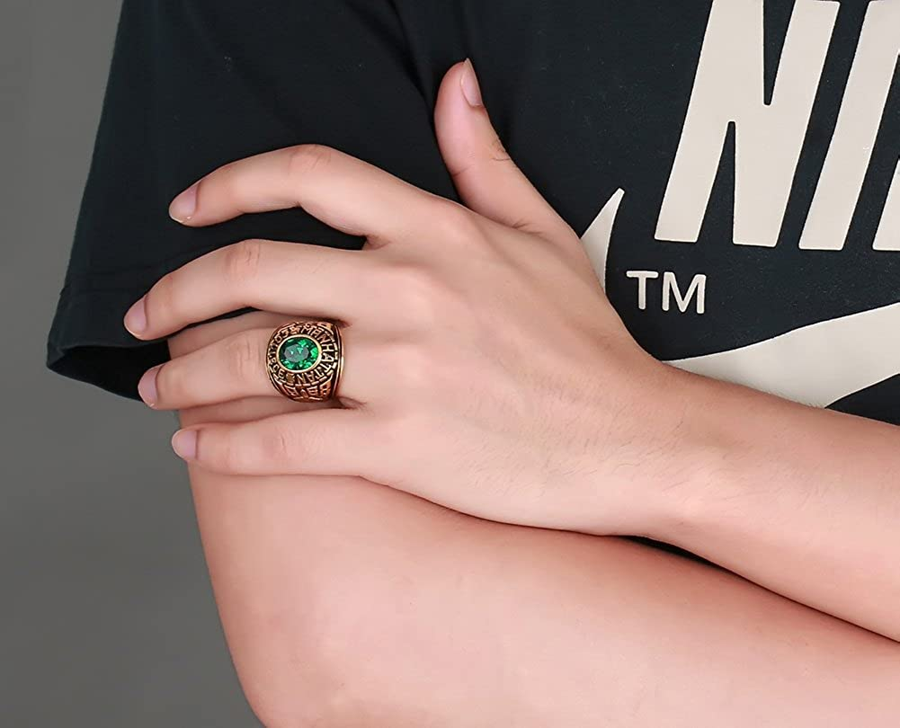 Amazon.com: Stainless Steel Manhattan College Ring with Green CZ ...