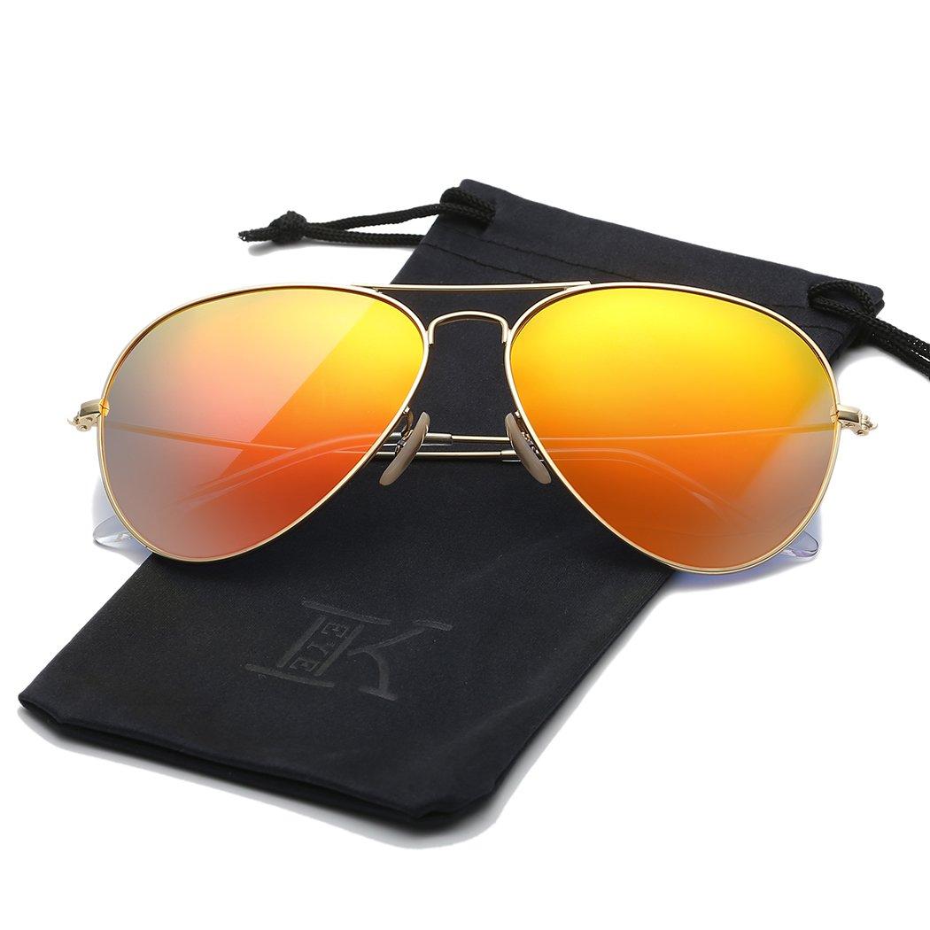 LKEYE - Sunglasses For Classic Aviator Unisex Polarized LK1743 Gold Frame Orange Lens