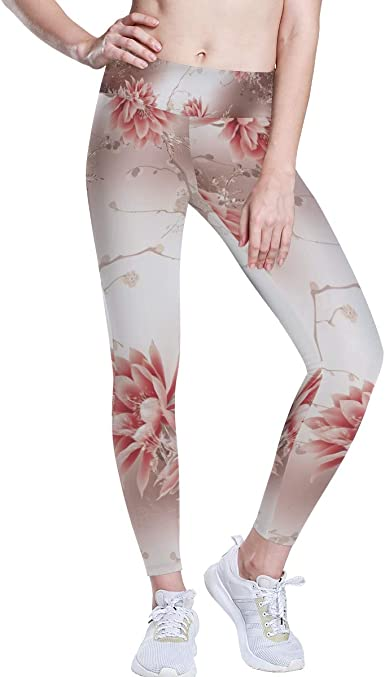 Amazon Com Alaza High Waist Yoga Pants For Women Girls Pink Lotus Flowers Floral Rose Gold Womens Tummy Control Workout Leggings Clothing