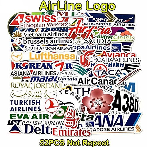 Stickers Worldwide Airline 52Pcs Children Adult Teens Teacher Water Bottles Laptop Car Travel Luggage Suitcase Skateboard Vinyl Bike Motorcycle Decal Graffiti Patches Cellphone MacBook Oil Sun Proof