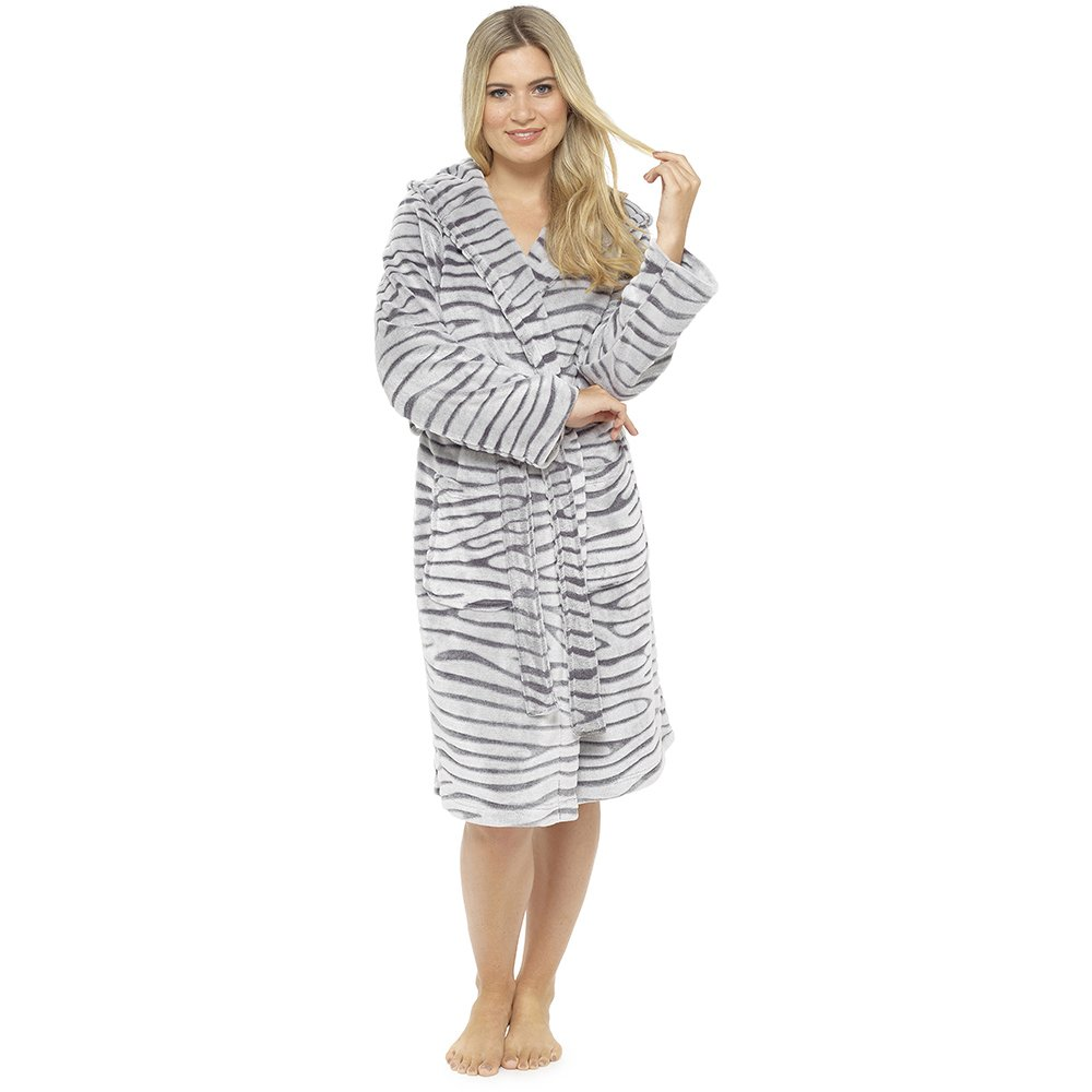 Ladies Supersoft Warm White Tiger Fleece Hooded Wrap Over Bathrobe Dressing Gown LROBE-LN676
