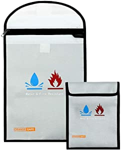 """Fireproof Document Bags (15""""x11"""" and 7""""x9""""), Heat Resistant (2000°F), Waterproof Bag Silicone Coated Money Bag, Fireproof Bag Metal Zipper Closure, Fire and Water Resistant Safe for Maximum Protection"""