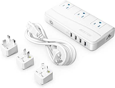 BESTEK 220V to 110V Voltage Power Converter 200W 4-Port USB Universal Travel Adapter EU/UK/AU/US Worldwide Plug, Thinner Design QC3.0