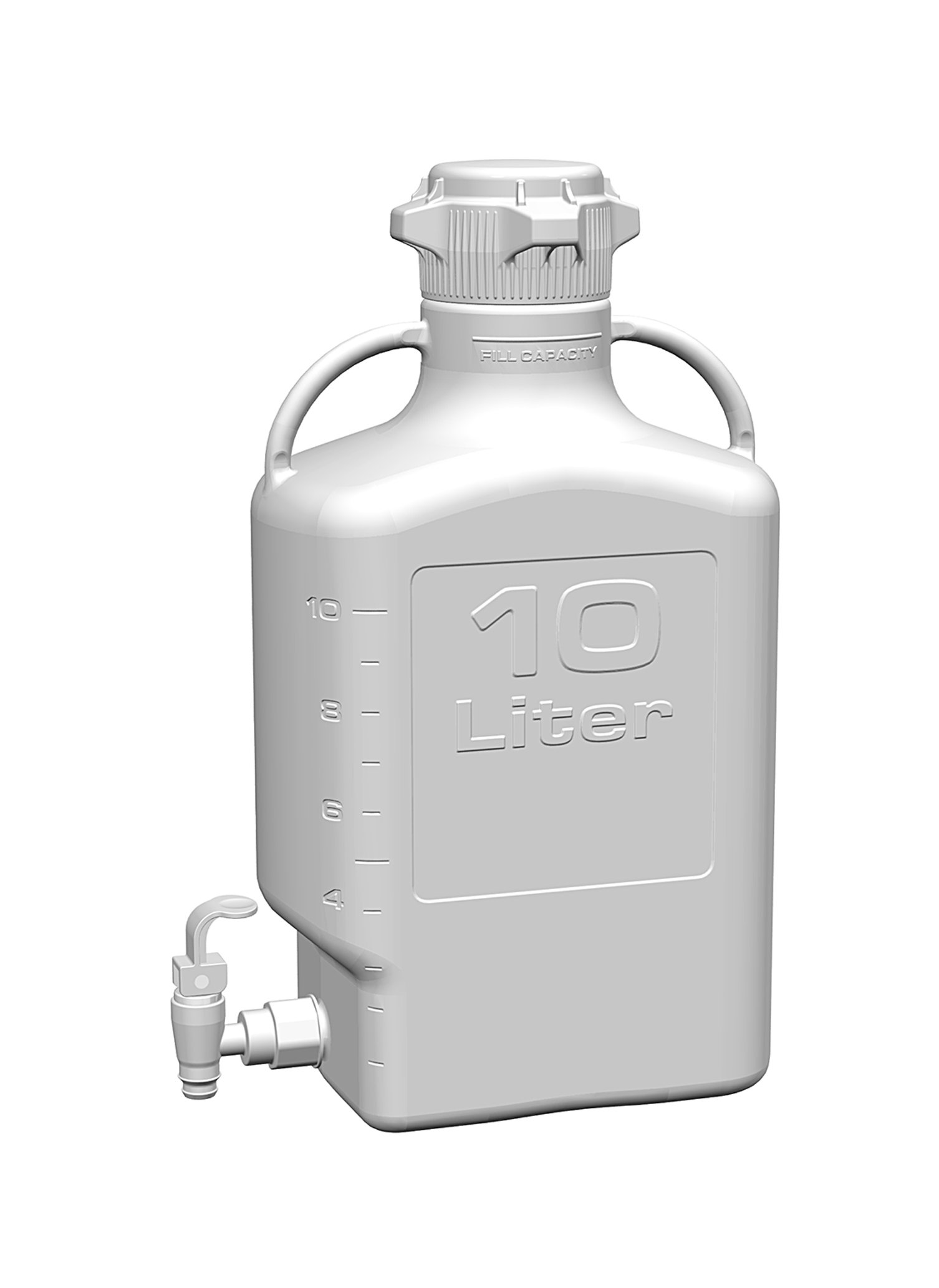 EZgrip 10L (2.5 Gal) HDPE Space Saving Carboy with Leakproof Spigot, 83mm (83B) VersaCap and 13L Max Capacity