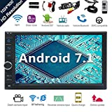Android 7.1 32GB 2GB Car Stereo Radio with Octa Core Bluetooth GPS Navigation Support Fastboot WiFi MirrorLink USB SD Backup Front Cam-in 7' 1024600 Capacitive Touchscreen Double Din+FREE Dual Cam