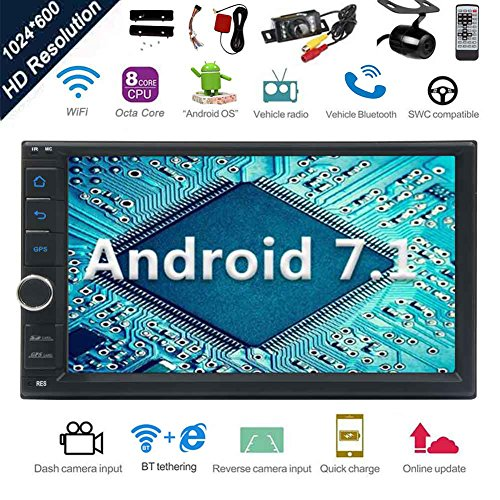 Free Nougat - Android 7.1 32GB 2GB Car Stereo Radio with Octa Core Bluetooth GPS Navigation Support Fastboot WiFi MirrorLink USB SD Backup Front Camera 7¡± 1024600 Capacitive Touchscreen Double Din + FREE Dual Cam