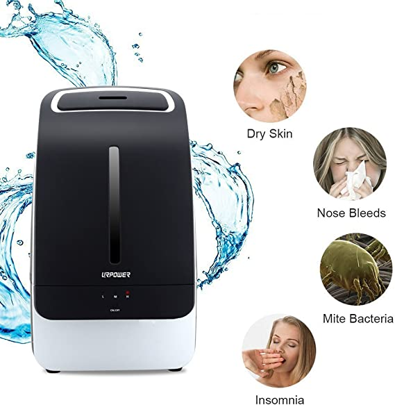 URPOWER Humidifier, 5L Large Capacity Whisper Quiet Operation Cool Mist Ultrasonic Humidifier Waterless Auto Shut Off With Adjustable Mist Mode For