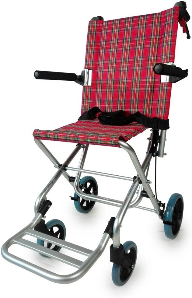 Mobiclinic, Modelo Neptuno, Silla de ruedas ortopédica, de tránsito, para minuválidos, plegable, de aluminio, freno en manetas, reposapiés, reposabrazos, asiento, ultraligera, color rojo