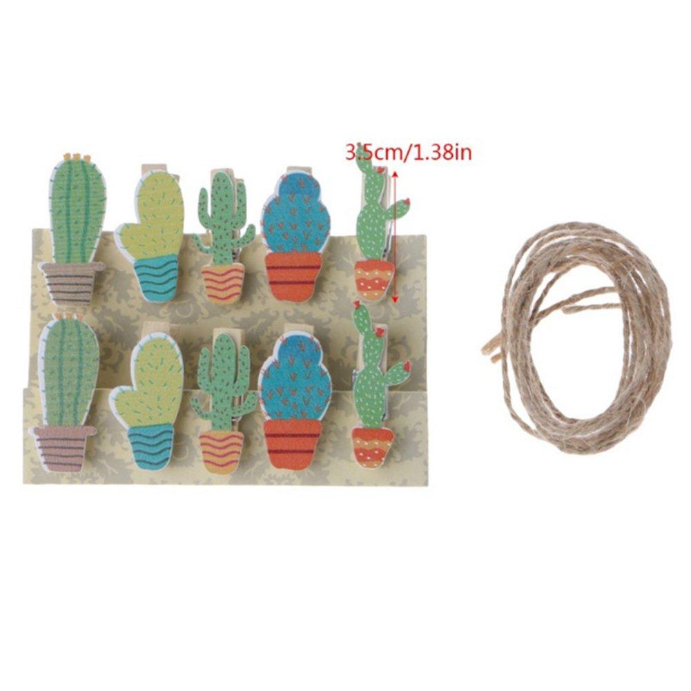 Academyus 10Pcs Cute Cactus Wooden DIY Paper Photo Clip Card Holder Wall Home Decor + Rope Random Color
