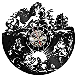 The Little Mermaid Vinyl Record Clock-Walt Disney Wall Art Poster-Fashion Clock Hans Christian Andersen Animated Fantasy Film Princess Ariel-Kids Nursery Clock Wall art Home Decor 12'' Black Round