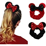 YanJie Women Mouse Ears Sequin Bows Velvet Scrunchies Elastic Rubber Hair Band Cute Hair Ties Rope Ponytail Holder Hair Acces