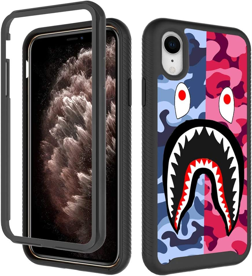 iPhone XR Case, Street Fashion Design iPhone XR Cases for Boys Girls Dual Layer Shockproof Rugged Cover Soft TPU + Hard PC Bumper Full-Body Cool Camo Case for iPhone XR (6.1 inch) - Pink Blue Shark