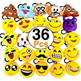 OHill 36 Pack Emoji Plush Pillows Mini Keychain Decorations for Birthday Party, Home Decoration, Wall Decor and Party Favor