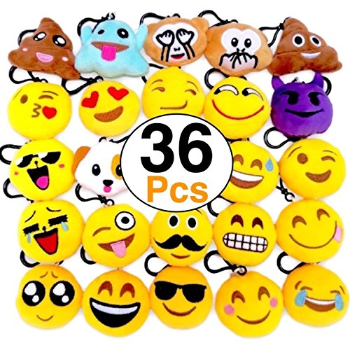 (O'Hill 36 Pack Emoji Keychains Mini Plush Pillows Key Ring for Birthday Event Party Favors Supplies)