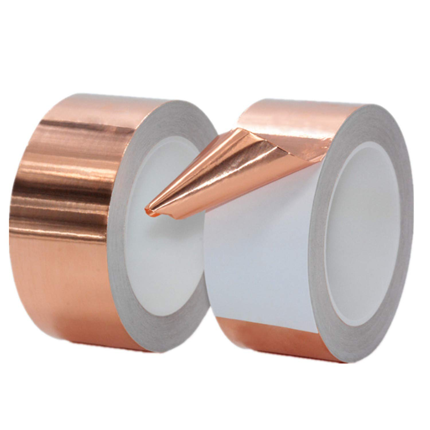Copper Foil Tape with Single Sided Conductive Adhesive 2 Rolls (5/6/8mmx50m) - Electrical Repairs, Slug Repellent, EMI Shielding, Stained Glass, Crafts, Grounding (2-Roll,5mm x 55yard)