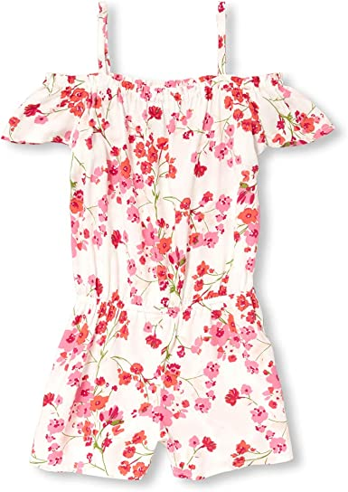The Childrens Place Girls Big Cold Shoulder Solid Flutter Sleeve Romper