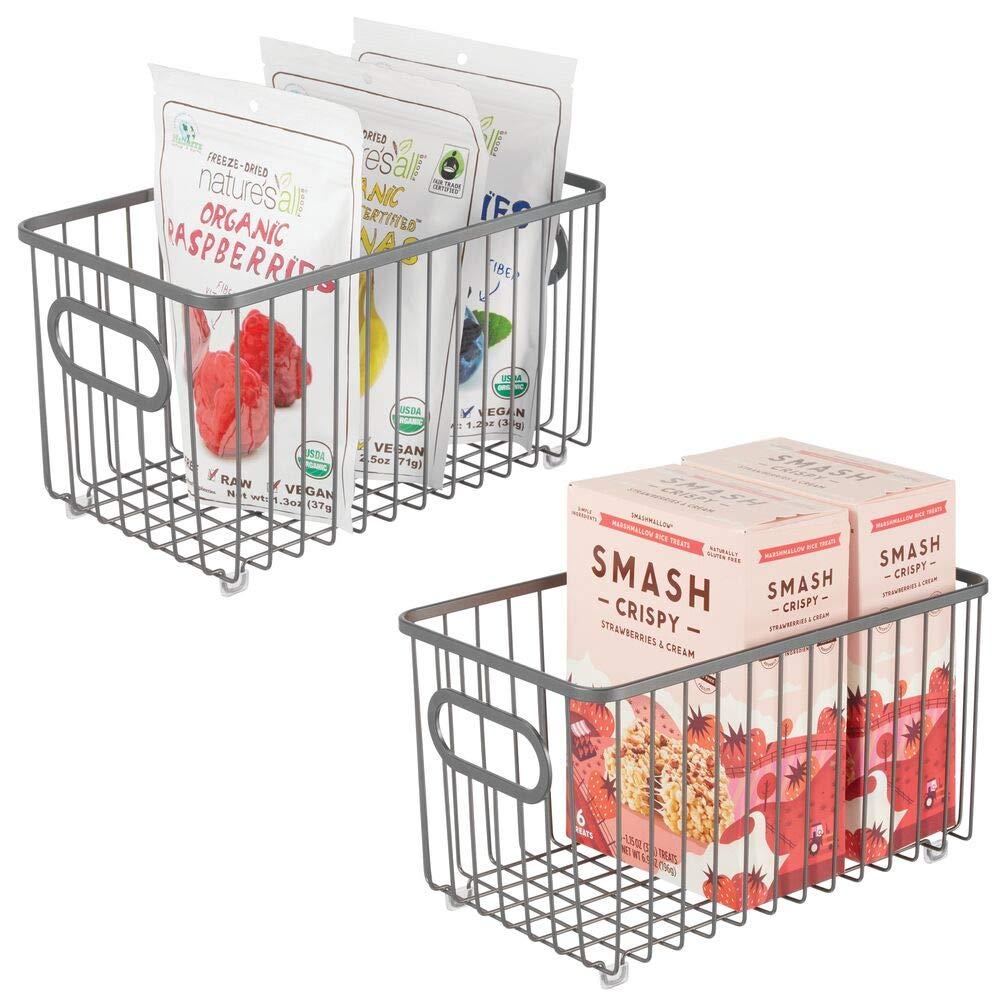 "mDesign Metal Farmhouse Kitchen Pantry Food Storage Organizer Basket Bin - Wire Grid Design - for Cabinet, Cupboard, Shelves, Countertop, Closet, Bedroom, Bathroom - 10"" Long, 2 Pack - Graphite Gray"
