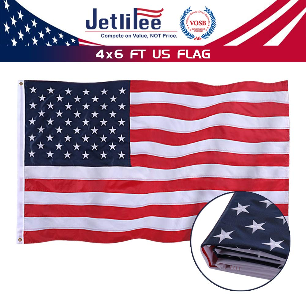Jetlifee American Flag 4x6 Ft - by U.S. Veterans Owned Biz. Embroidered Stars, Sewn Stripes, Brass Grommets US Flag.Outdoors Indoors USA Flags Polyester 4 x 6 Foot
