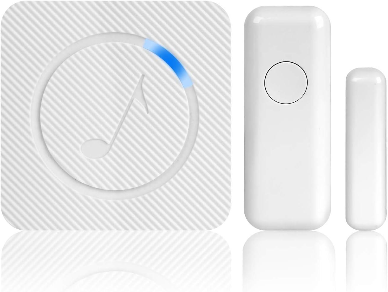 Wireless Door Sensor Alarm Chime, AURTEC Home Security Door Chime for Office/Home/Shop, Door Window Entry Alert with Operating Range 600ft/200m, LED Flash,1 Magnetic Door Alarm Sensor with Press But