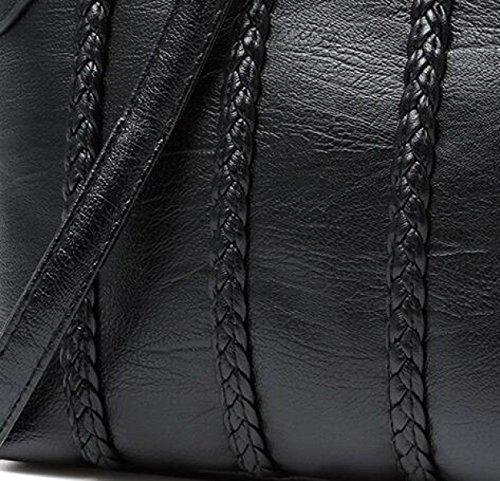 Delle Messaggero Pelle Di Del Tracolla Signore Elegante Donne nero Grigio In Modo q5TnxqU80t