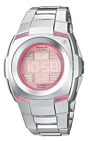 Casio MSG-171D-4VER - Reloj digital de mujer de cuarzo con correa de acero inoxidable plateada (cronómetro, alarma, luz) - sumergible a 200 metros: ...