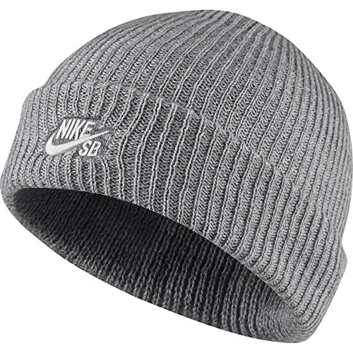 Nike Mens SB Fisherman Skull Cap Beanie Grey Heather/White