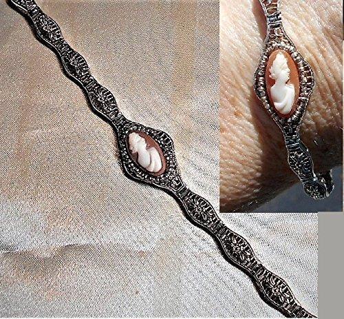 Edwardian Cameo - Edwardian Ornate Filigree w/a Diamond Shape Cameo, Dainty Tennis Link Bracelet Unmarked 925 Sterling Silver w/Glass Silver Seed Beads OOAK