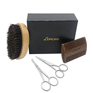 Kit aseo para barba - 4 piezas, peine para barba de madera, cepillo para barba de cerdas de jabalí 100%, tijeras para barba y nariz de regalo.