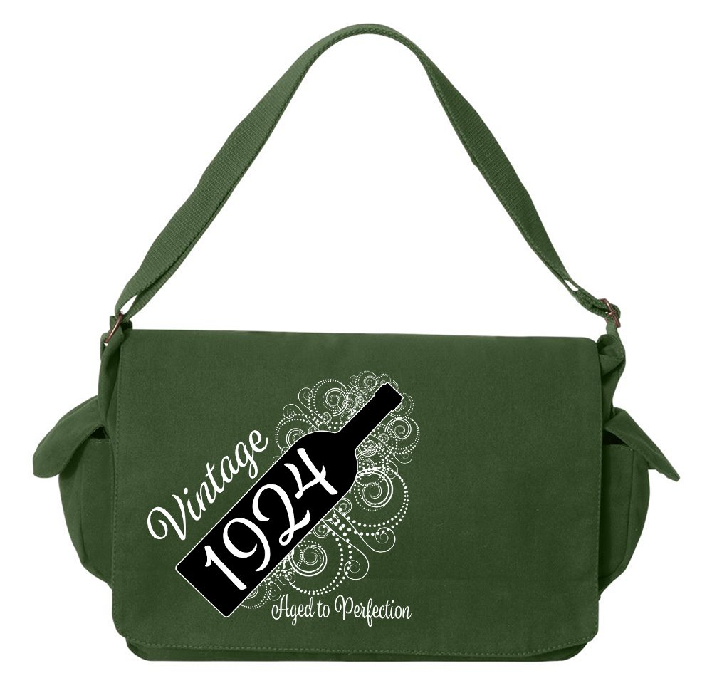Tenacitee Born in 1924 - Aged Like a Fine Wine Green Brushed Canvas Messenger Bag