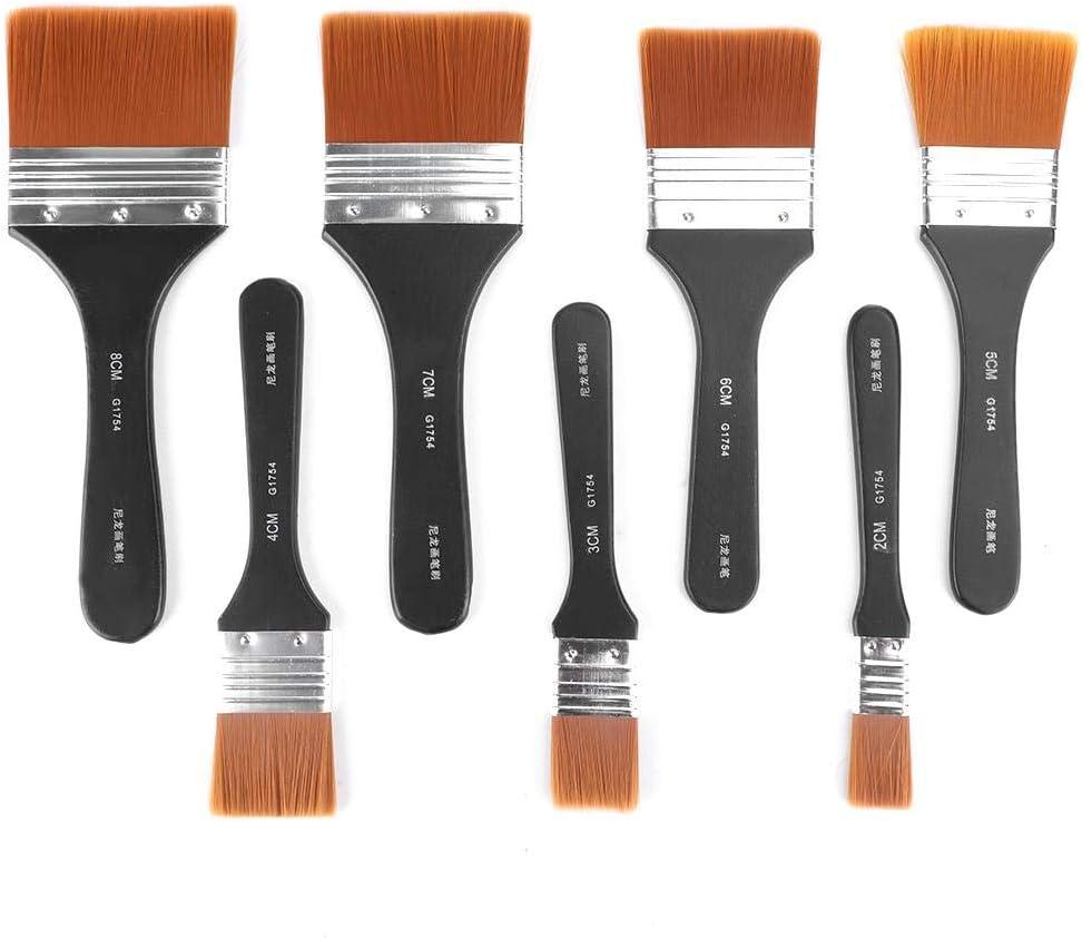 7piezas de pinceles de pintura planos de mango de madera liviano profesional KIT para principiantes artistas estudiantes pintura de acr/ílico al /óleo sumin Set de pinceles de pintura de lana de nylon