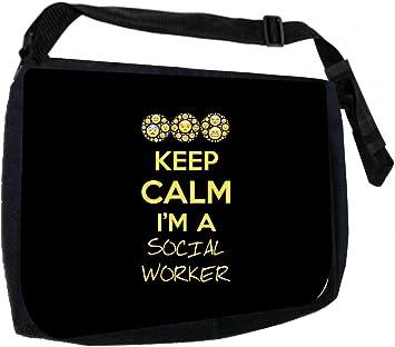 Keep Calm Im a Social Worker School Messenger Bag Pencil Case Set
