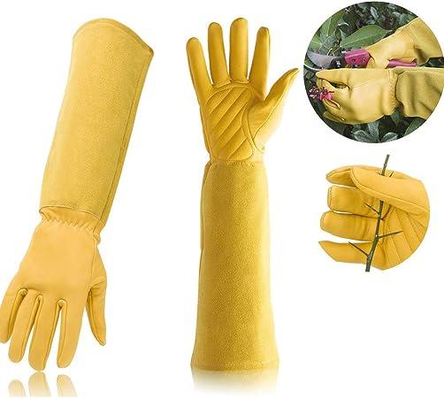 protectores de brazos S 2 guantes de jardiner/ía para hombres y mujeres a prueba de pinchazos amarillo con mangas largas Guantes de piel de cabra para podar con dise/ño de rosas
