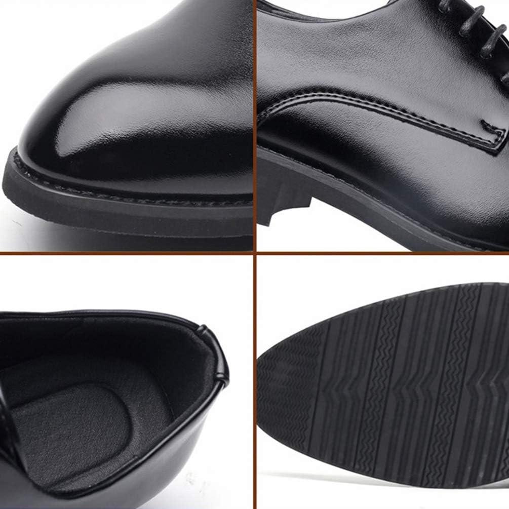 Lvguang Cuir Noir Brillant pour Hommes daffaires Style Haut Chaussures /à Lacets pour Employ/é de Bureau