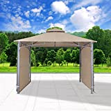 Cloud Mountain Patio Gazebo With Two Side Sunshade Walls Privacy Curtain Patio BBQ 2 Tiered Canopy 130'' x 130'' Gazebo Vented Double Roof Polyester Fabric, Sand