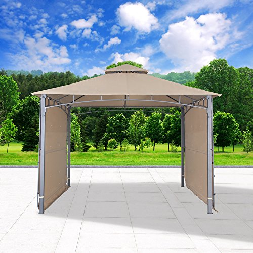 Gazebo Tiered Roof - Cloud Mountain Outdoor Gazebo Patio Gazebo with Two Side Sunshade Walls Privacy Curtain Patio BBQ 2 Tiered Canopy 130