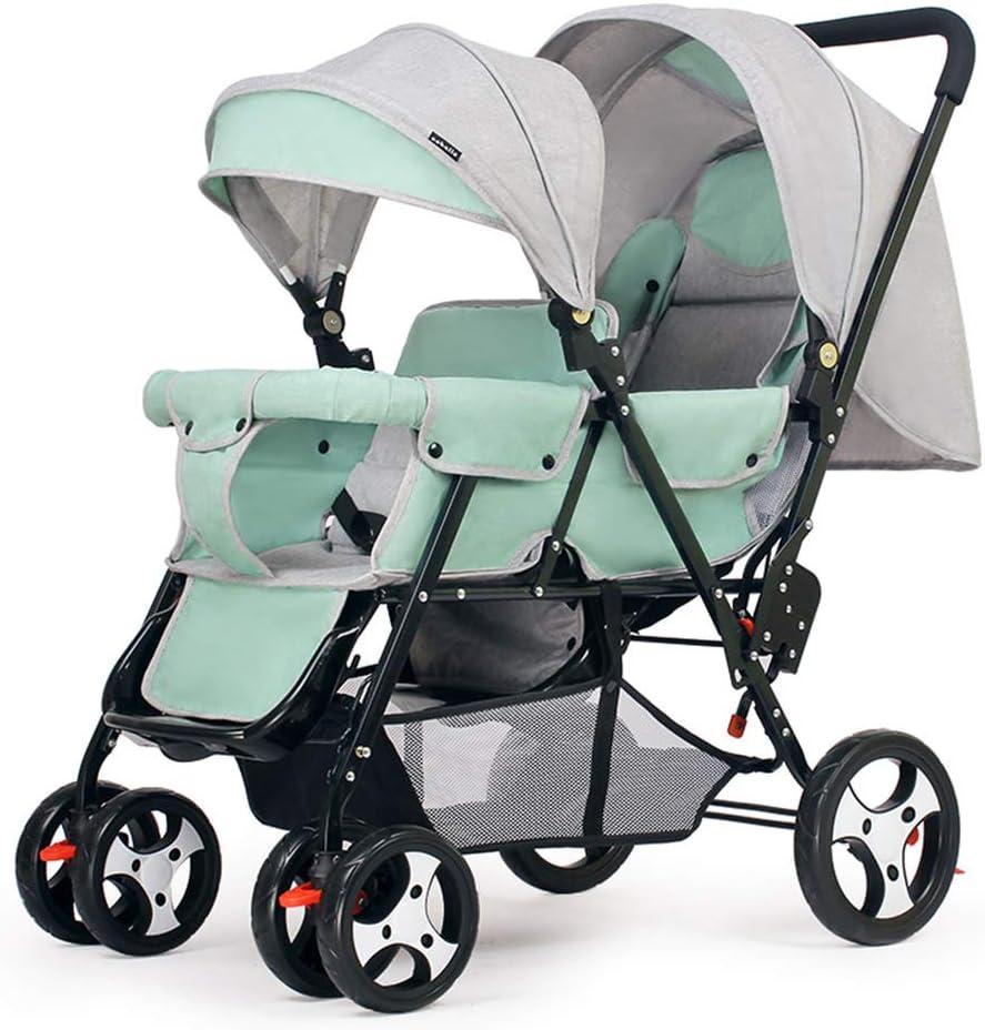 二人乗りベビーカー、双子乳母車 幼児および対のベビーカーの幼児のための折り畳み式の、二重ベビーカーの調節可能なあと振れ止めの足台5ポイント安全ベルト