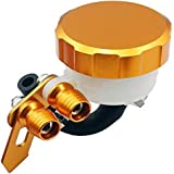 SclMotor Brake Accessories Master Cylinder Fluid Reservoirs Gold Color Universal oil Tank Reservoir cup Made by Aluminum T6061 for most Motorcycle Sport bike Street bike Scooter Dirt Bike