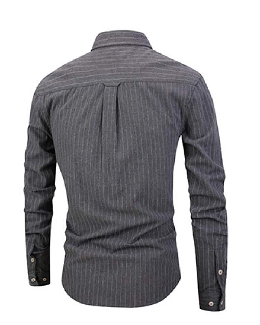 Conffetti Mens Slim Fit Striped Pleated Curved Hem Long Sleeve Lapel Neck Pocket Button Down Shirts