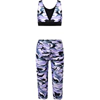 Hansber Girls Kids Camouflage Printed Love Dance 2 Pieces Racer Crop Top with Leggings Sports/Dance Outfit