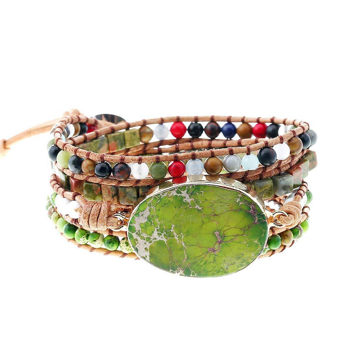 YGLINE Boho Handmade Imperial Jasper Druzy Bead 5 Wraps Statement Bracelet Jewelry Collection (Style 1) by YGLINE
