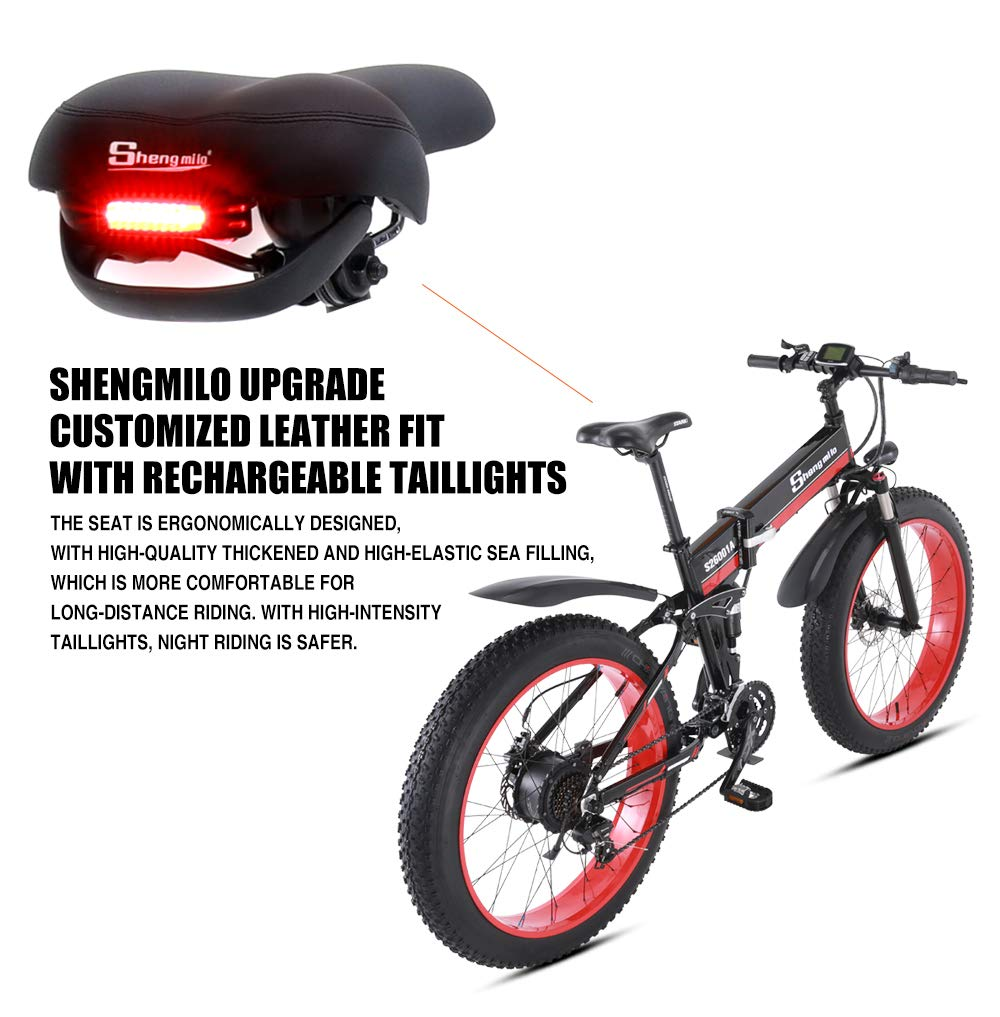 Shengmilo MX01 26 Inches Snow Bike,1000W 48V 13ah Folding Fat Tire Mountain Bike MTB Shimano 21 Speed E-bike Pedal Assist Hydraulic Disc Brake