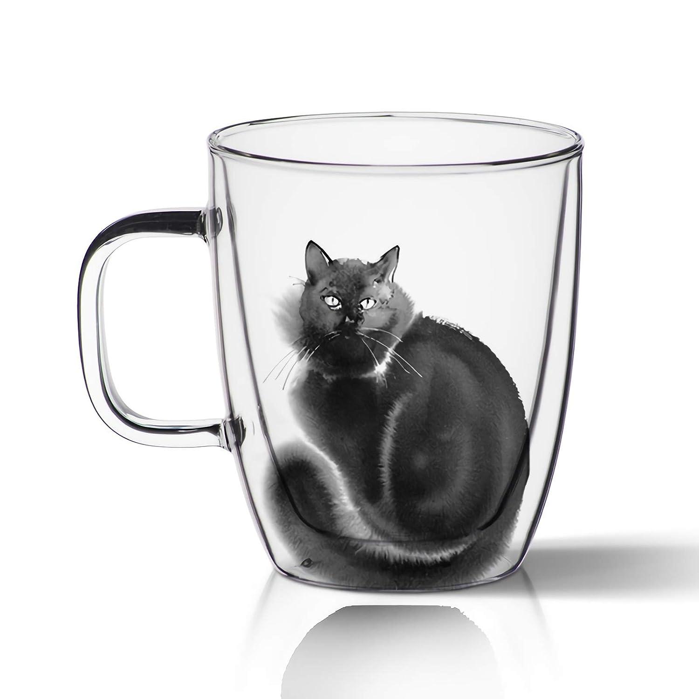 A Vasos De Cristal Gato Pintado A Mano Taza De T/é Con Mango Alta Pared Taza Taza De Vidrio Hecho A Mano Vasos De Agua Gafas De Alta Calidad Vasos De Caf/é De Vidrio De Ideales Como Regalo