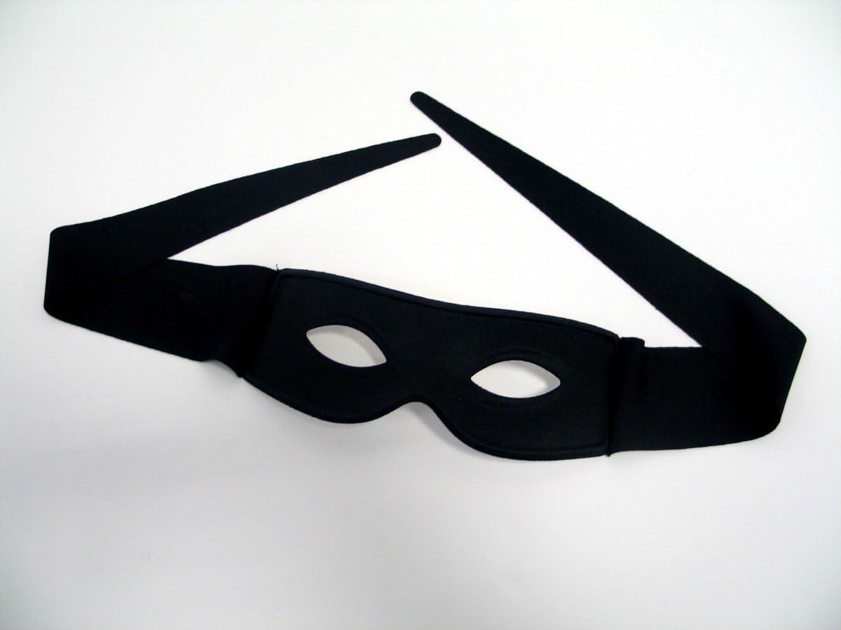 Mardi Gras Masquerade Black Bandit Super Hero Eye Mask Zorro