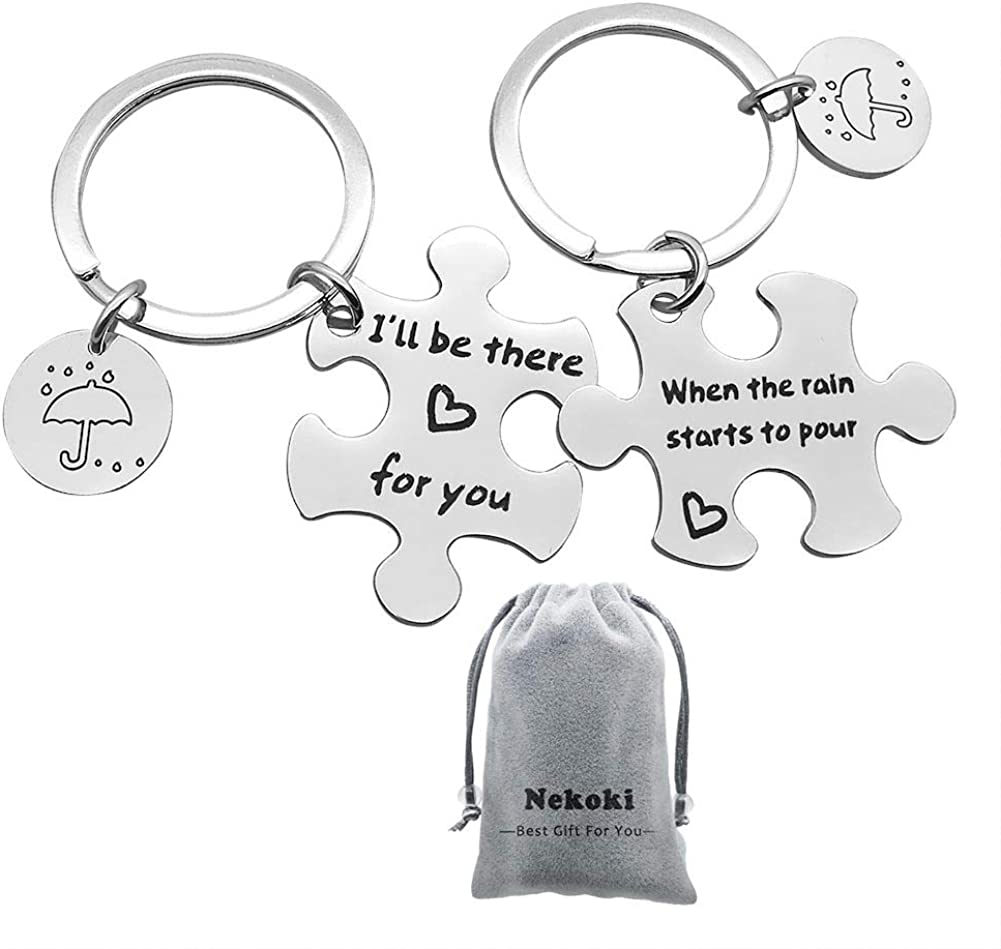 Couple Keychain Puzzle Keychain I'll Be There for You Keychain Set TV Show Friend Inspired Keyring Gift for Best Friend Couple Friends Graduation Gifts Dad Mother Jewelry Gift