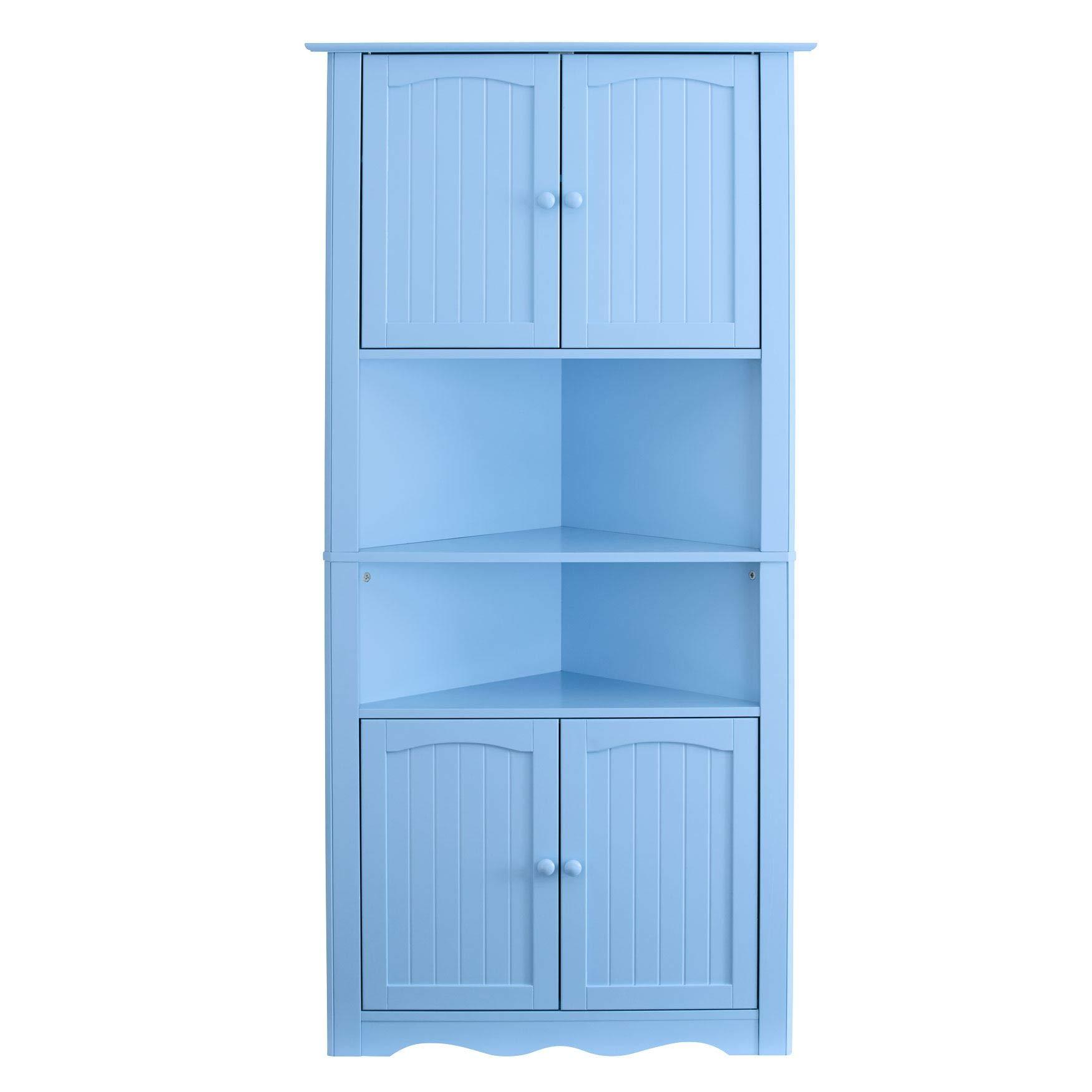BrylaneHome Cottage Kitchen Corner Cabinet - Light Blue