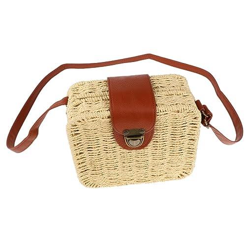 P Prettyia Donna Moda Borsa A Tracolla di Crochet Pochette di Raffia  Sacchetto da Spiaggia - fd87933101b